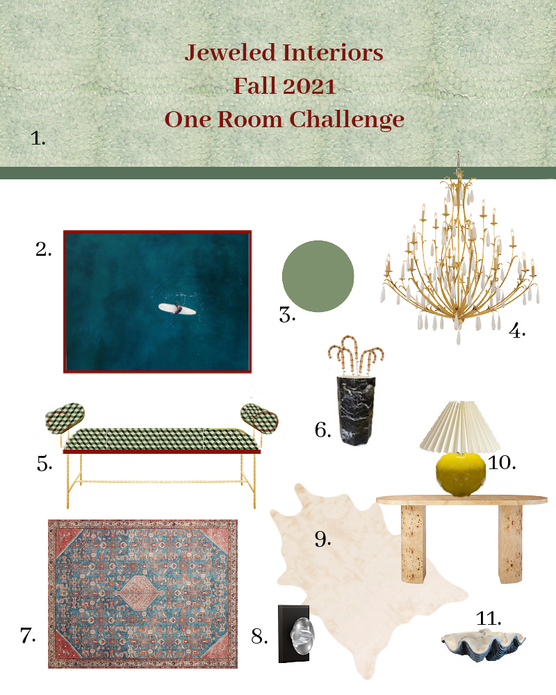 Fall 2021 One Room Challenge, Jewel Marlowe, One Room Challenge, Entryway, dining room, TV room, Schumacher, Feather Bloom, fine and dandy wallpaper co, burl, navy, green, crystal knob handle