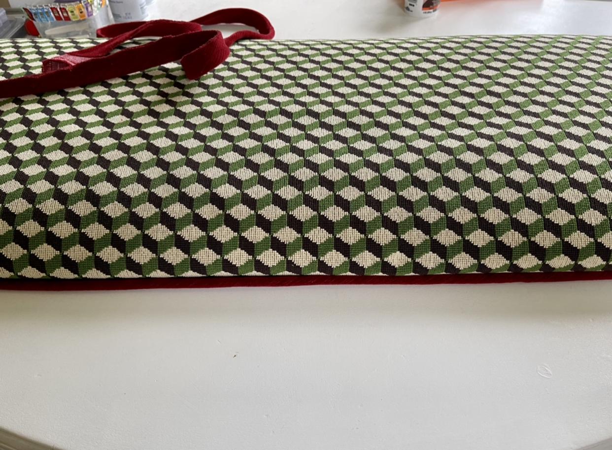 Atwood, tumbling block, Schumacher, fabric, DIY upholstery